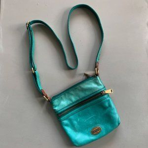 Teal Fossil Explorer Mini Crossbody Bag